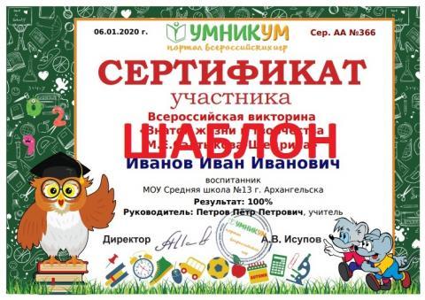 Сертификат участника викторины по географии