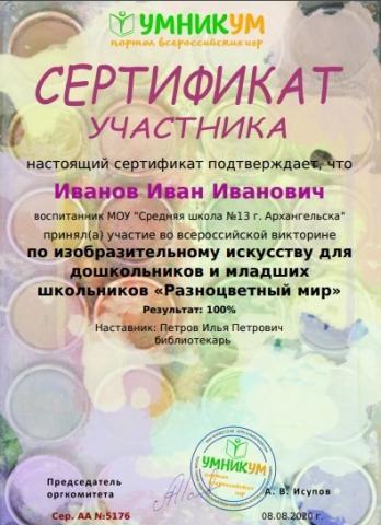 Разноцветный мир. Сертификат по ИЗО